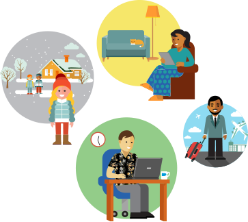 Four people in four different environments: woman and family in snow, woman reading with a cat in the living room, bearded man at an airport, man sitting at a desk.