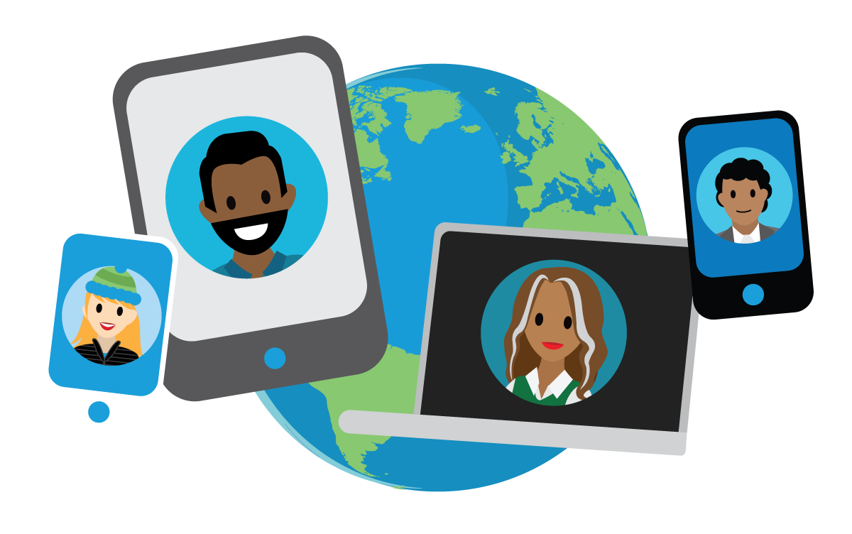 Different devices displaying different people's faces with a globe backdrop