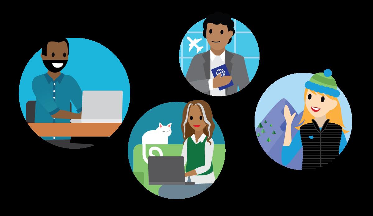 Quatro pessoas em quatro ambientes diferentes: mulher na montanha, mulher trabalhando na sala de estar, homem no aeroporto e homem trabalhando em uma mesa.