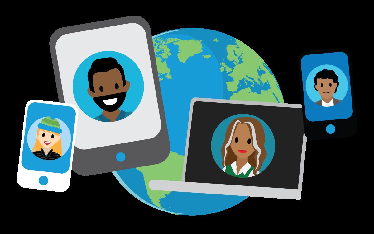 Dispositivos diferentes mostrando os rostos de pessoas diferentes tendo um globo como tela de fundo