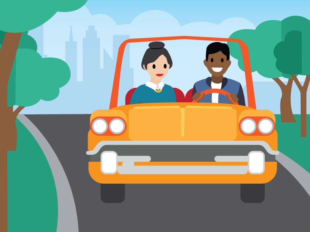自動車で顧客を訪問する従業員にマネージャが同行する。
