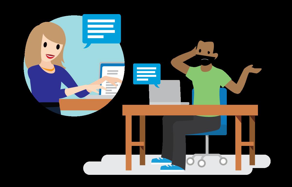 Um funcionário terminando com animação um projeto; outro funcionário confuso em relação às alterações.