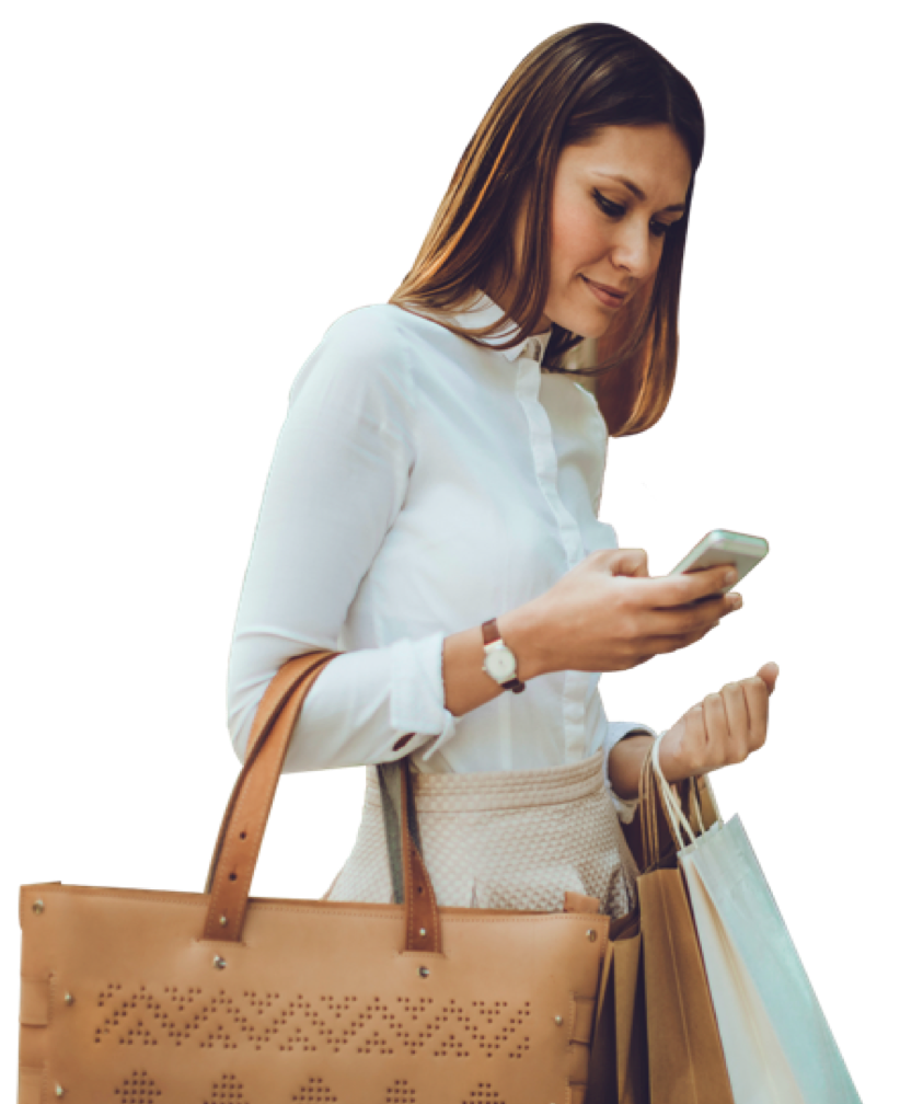 Woman shopping on her mobile phone