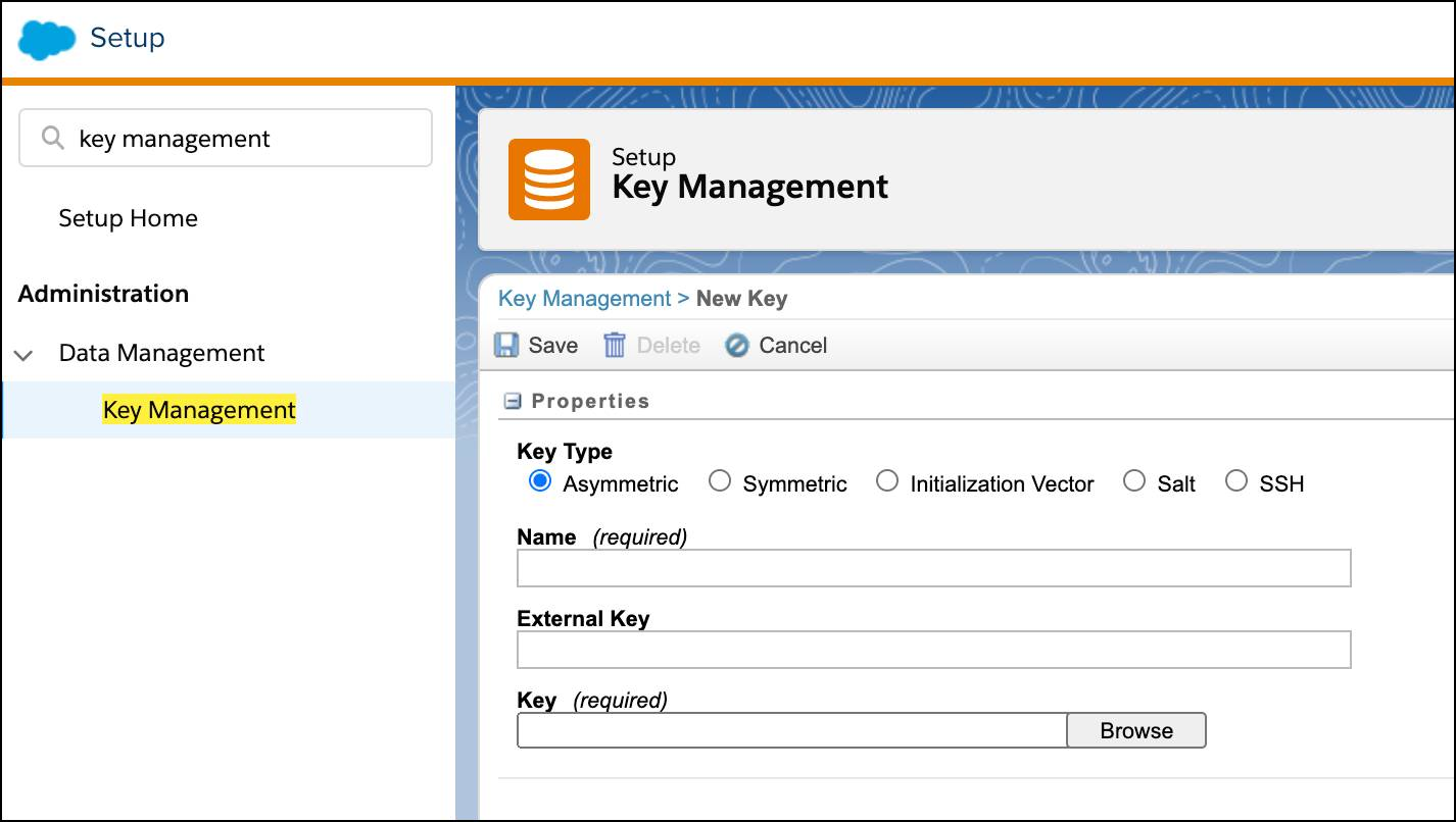Options to configure a new key on the Key Management page in Setup.