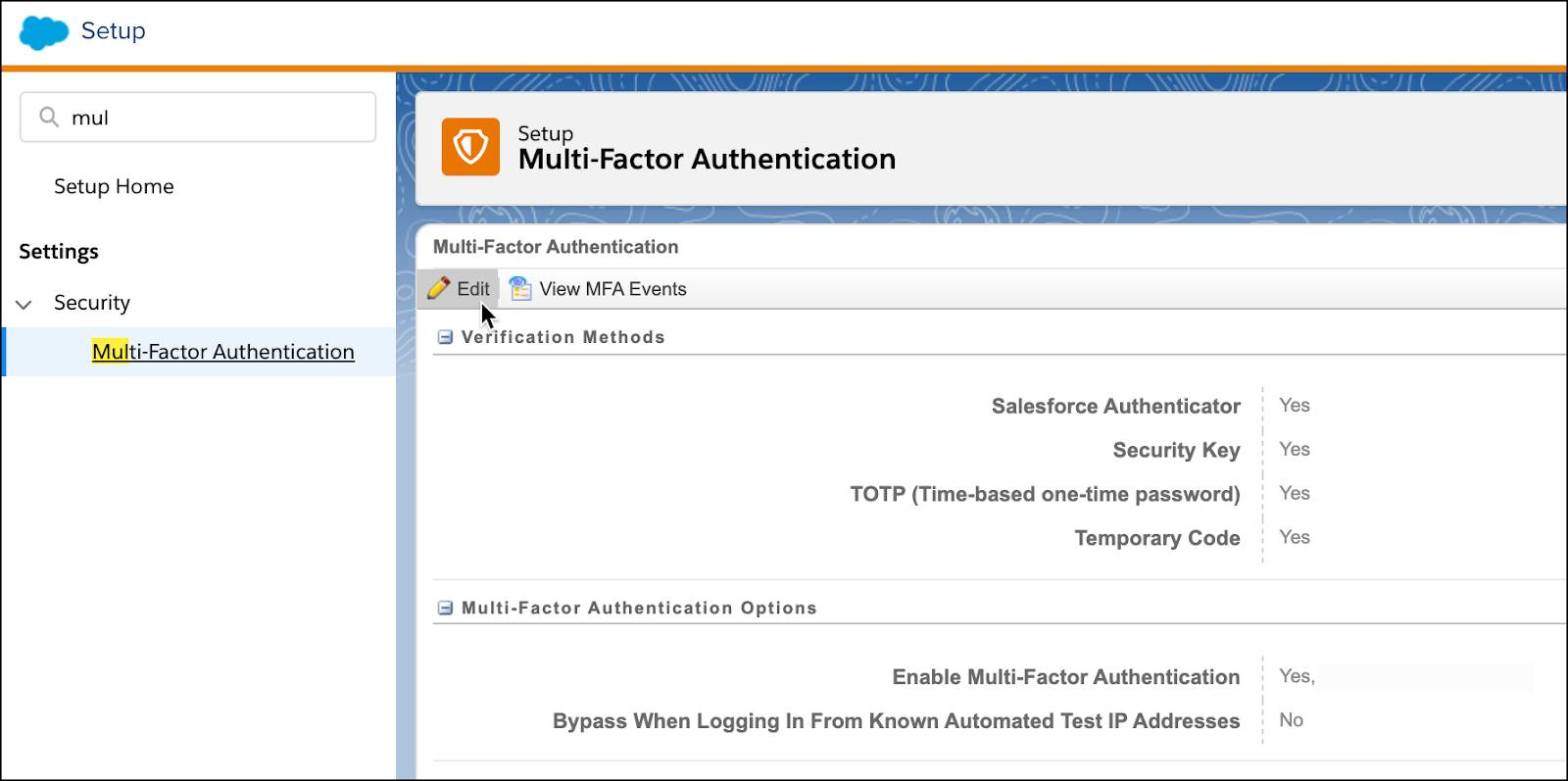 Multi-factor authentication in Setup settings.