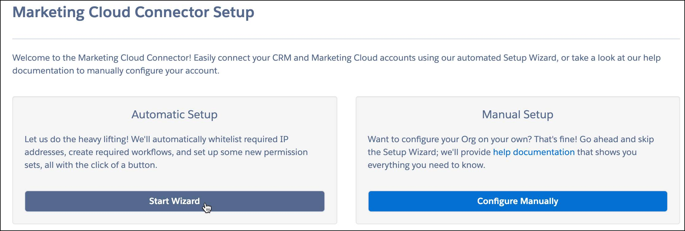 Marketing Cloud Connect Setup with Start Wizard button highlighted.