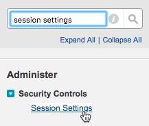 Quick Find box with session settings entered and the Session Settings menu option selected