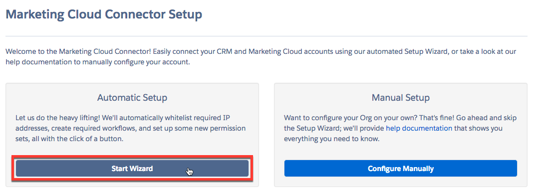 Marketing Cloud Connect Setup with Start Wizard button highlighted