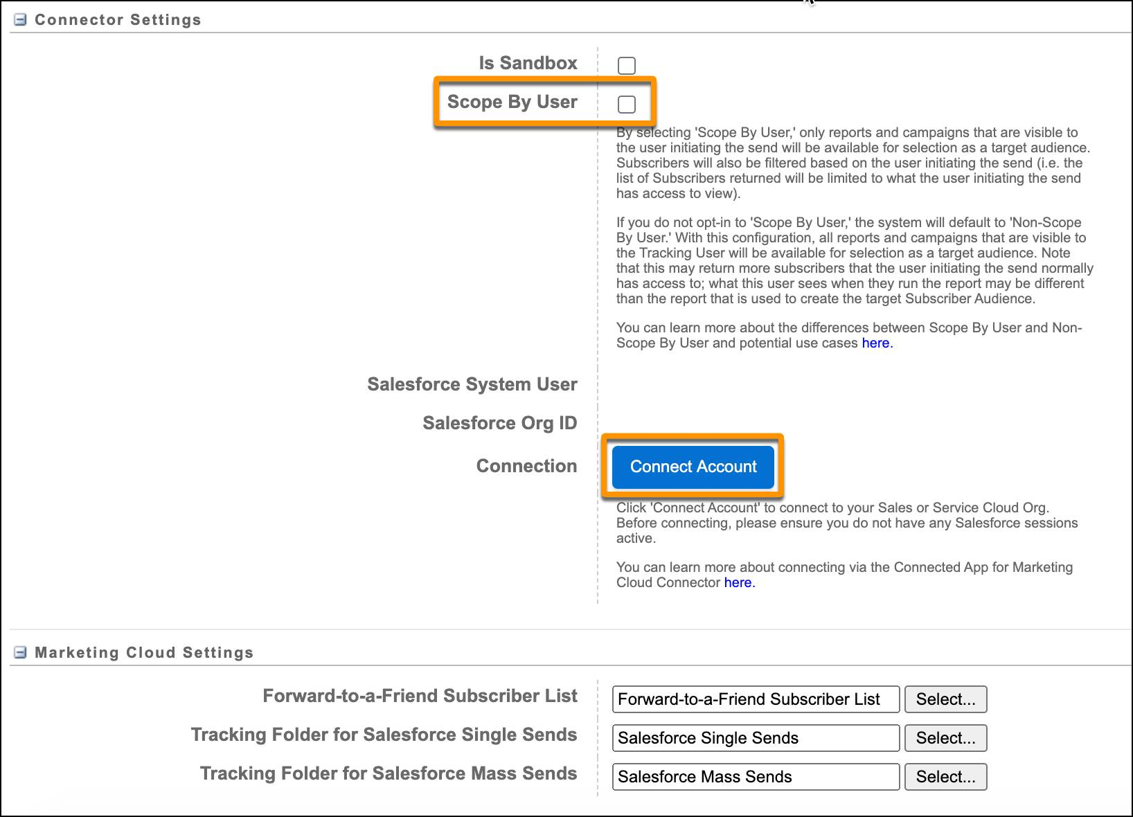 Salesforce Integration Setup screen in Marketing Cloud with Scope by User and Connect Account circled.
