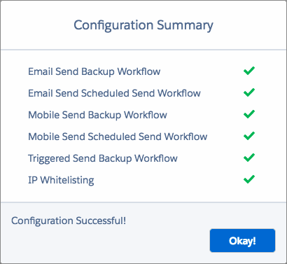 Marketing Cloud Connect Configuration Summary, announcing that the configuration was successful