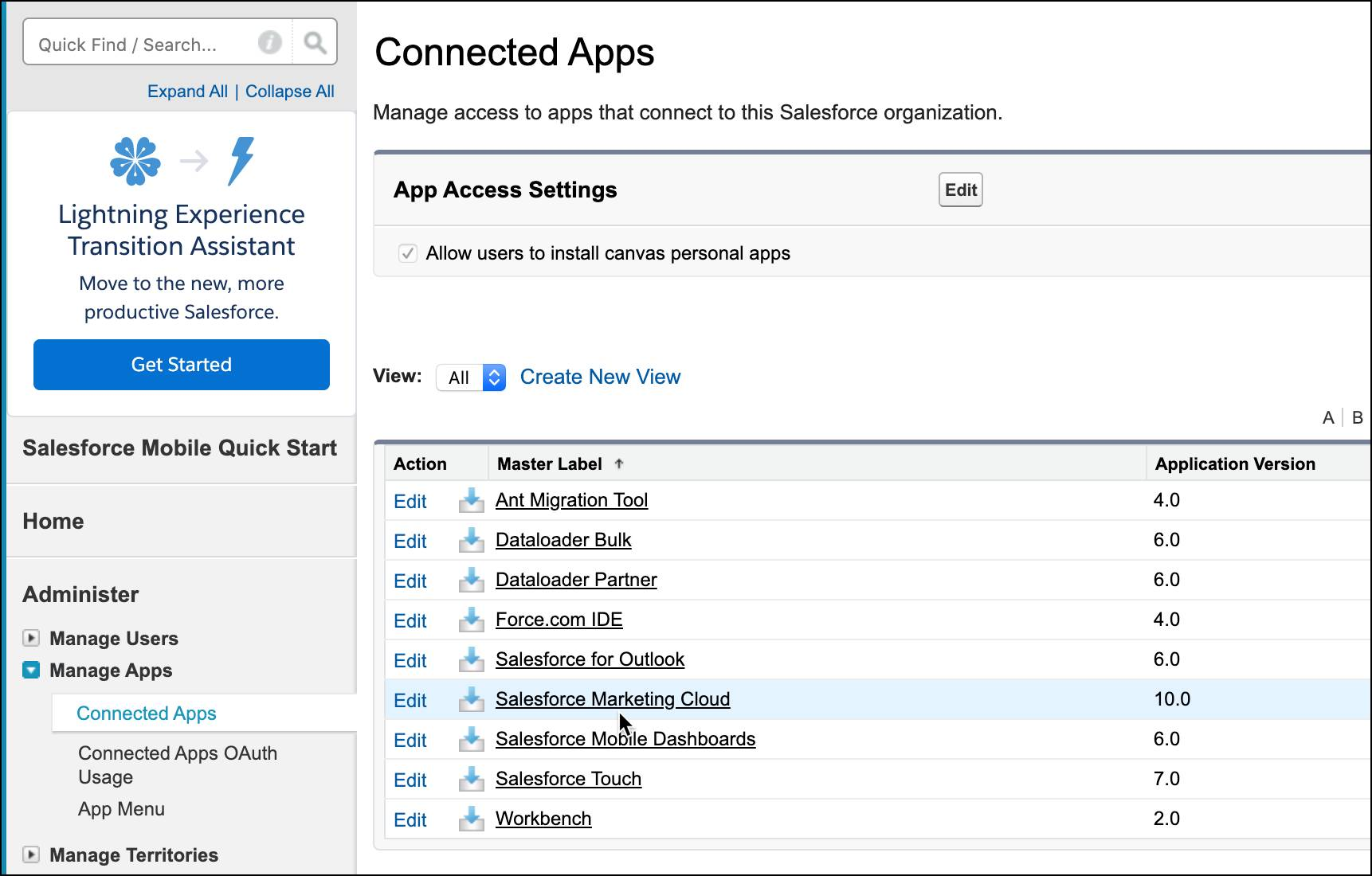 Connected Apps screen with Salesforce Marketing Cloud selected.