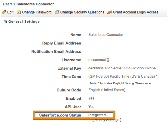 Bildschirm mit Marketing Cloud-Benutzerdetails mit Salesforce.com Statusfeld 'Integriert'