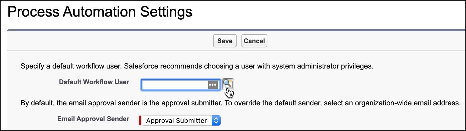 Prozessautomatisierungseinstellungen mit ausgewähltem Vergrößerungsglas für Suche.