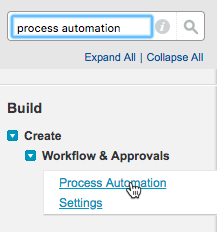 Quick Find box with process automation entered, and the Process Automation Settings setup node selected