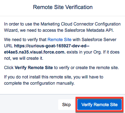 Remote Site Verification dialog box with Verify Remote Site button highlighted