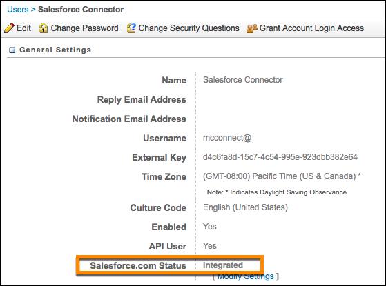Écran de détail de l'utilisateur MarketingCloud avec le champ Statut Salesforce.com affichant l'état Intégré.