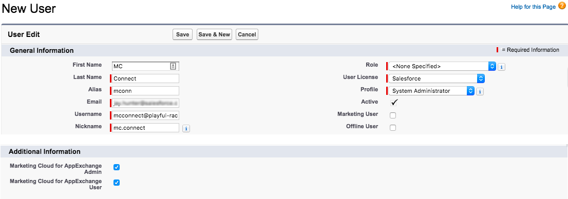 New User screen with specified fields filled out