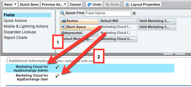 In the User Page Layout, moving Marketing Cloud for AppExchange Admin and Marketing Cloud for AppExchange User from the palette to the layout