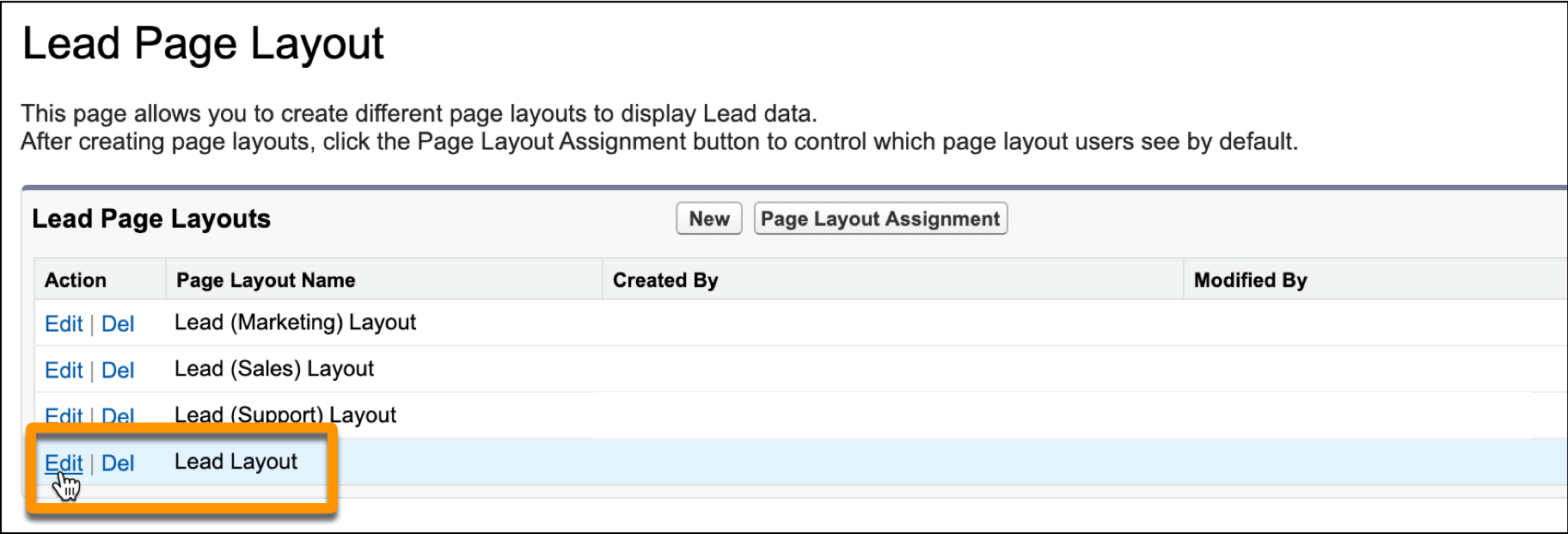 Lead Page Layout with Edit selected next to Lead Layout.