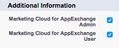 Marketing Cloud for AppExchange Admin and User Fields checked on the user detail page