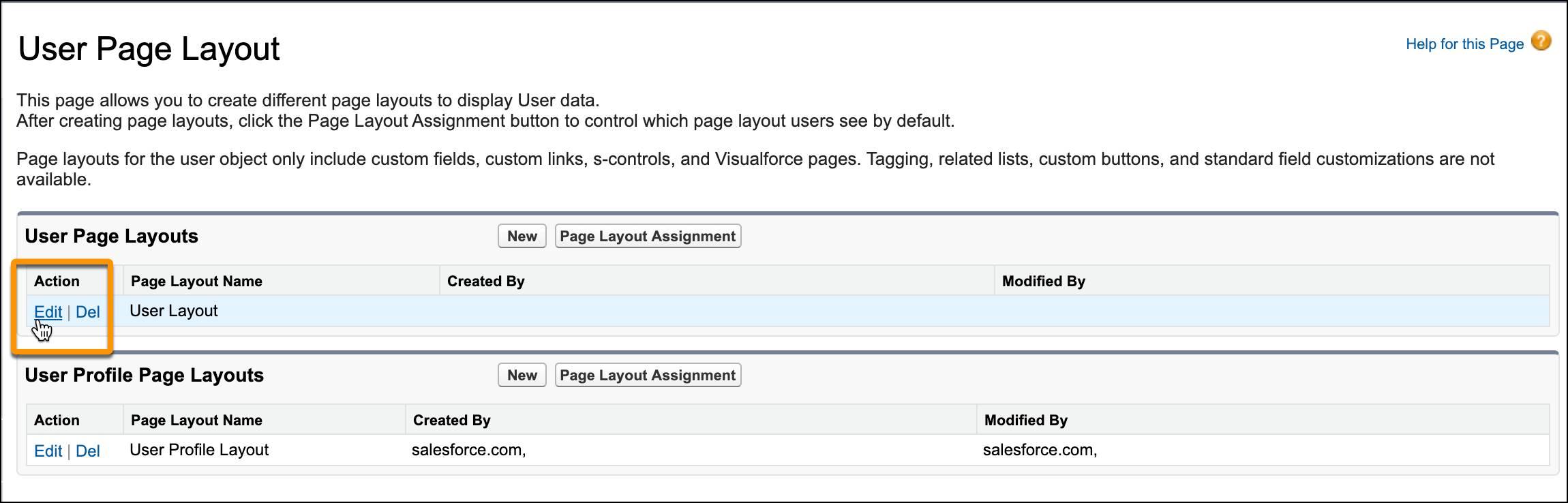 Bildschirm 'Benutzer-Seitenlayout' mit dem Cursor auf dem Bearbeitungslink für das Benutzer-Seitenlayout.