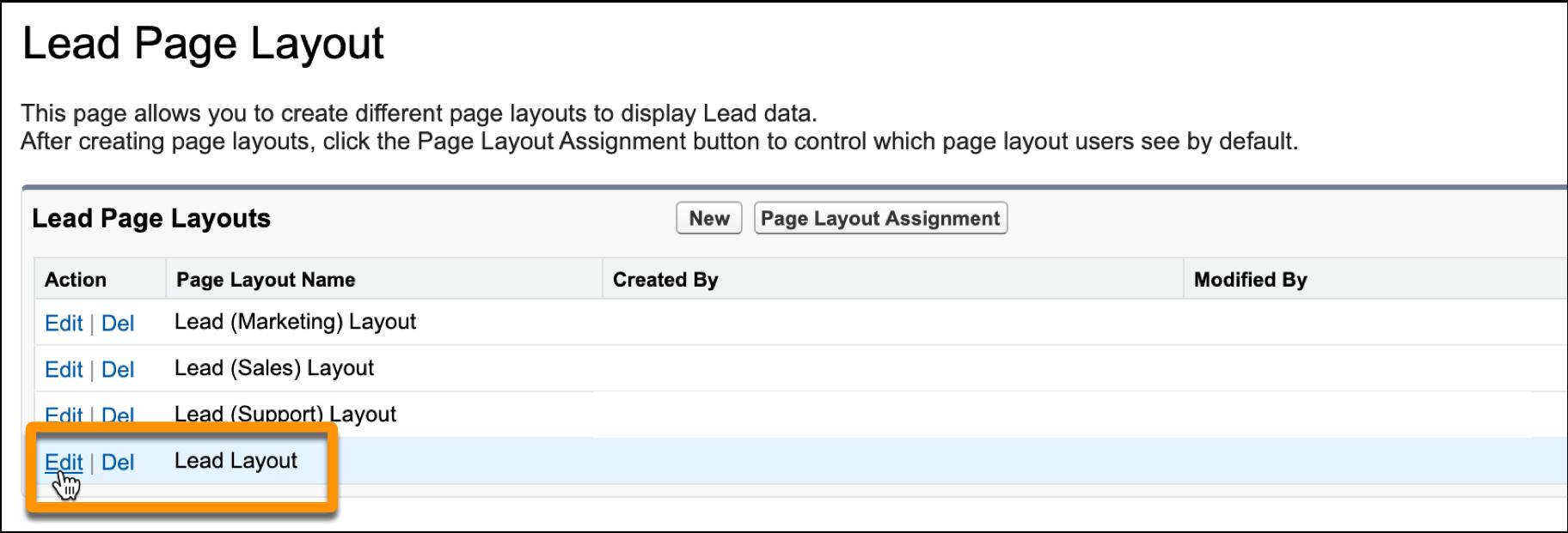 Lead-Seitenlayout mit 'Bearbeiten' neben 'Lead-Layout' ausgewählt.