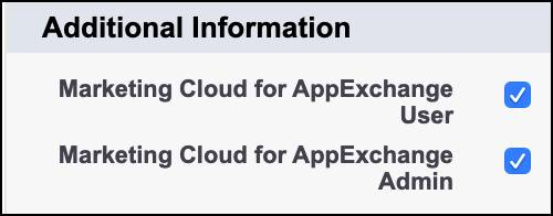 Die aktivierten Felder 'Marketing Cloud für AppExchange-Administrator' und 'Marketing Cloud für AppExchange-Benutzer' auf der Seite 'Benutzerdetails'.