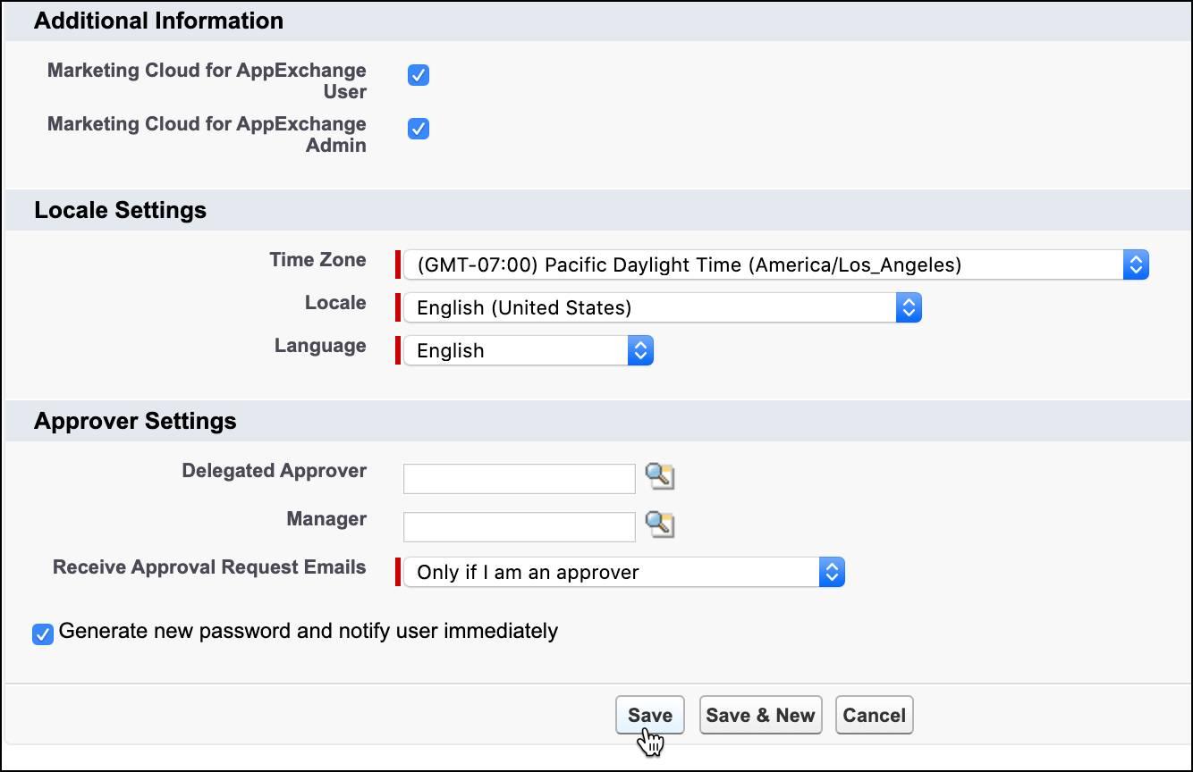 Bildschirm 'Neuer Benutzer' mit ausgewählten Marketing Cloud-Berechtigungen und ausgewähltem Kontrollkästchen 'Neues Kennwort generieren'