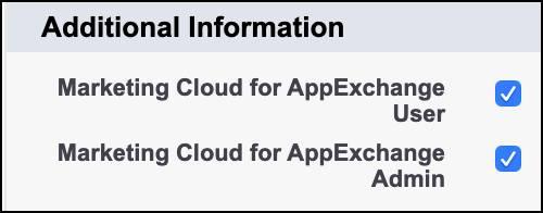 Champs Administrateur MarketingCloud pour AppExchange et Utilisateur MarketingCloud pour AppExchange cochés sur la page de détail de l'utilisateur.