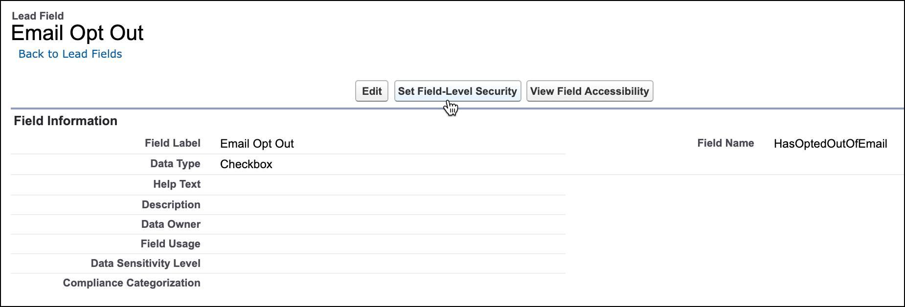 [項目レベルセキュリティの設定] ボタンが選択された、リードの [メール送信除外] 項目