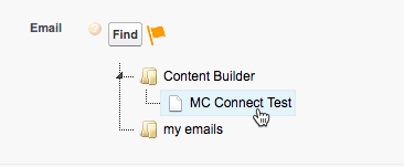 Selecting MC Connect Test in the Email Send configuration screen