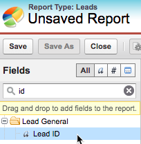 Lead ID field being selected in the Report Builder
