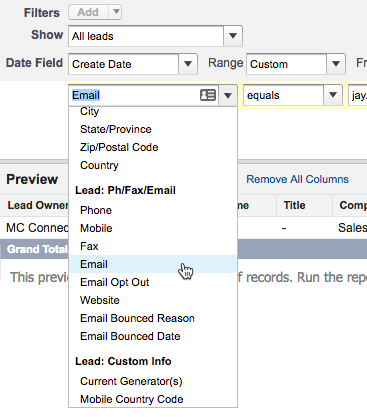 Selecting the Email field for filtering in the report builder