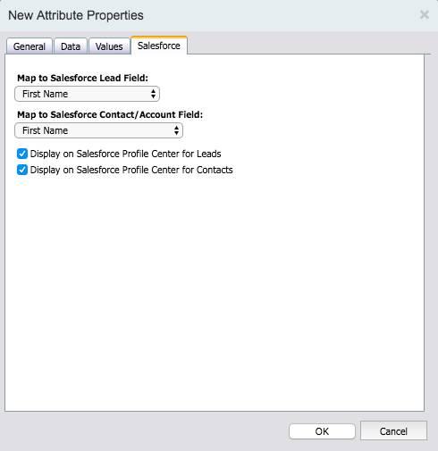 Onglet Salesforce configuré sur l'écran Propriétés des nouveaux attributs avec les cases Affichage des pistes dans le centre de profil Salesforce et Affichage des contacts dans le centre de profil Salesforce sélectionnées.