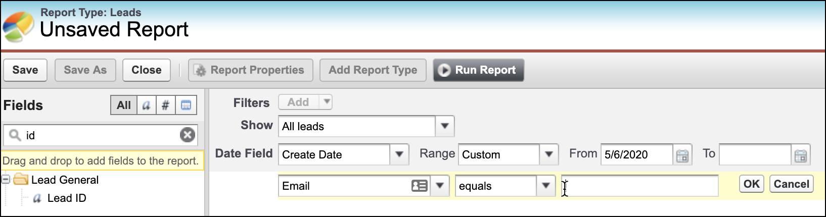 Champ E-mail sélectionné comme filtre dans Report Builder.