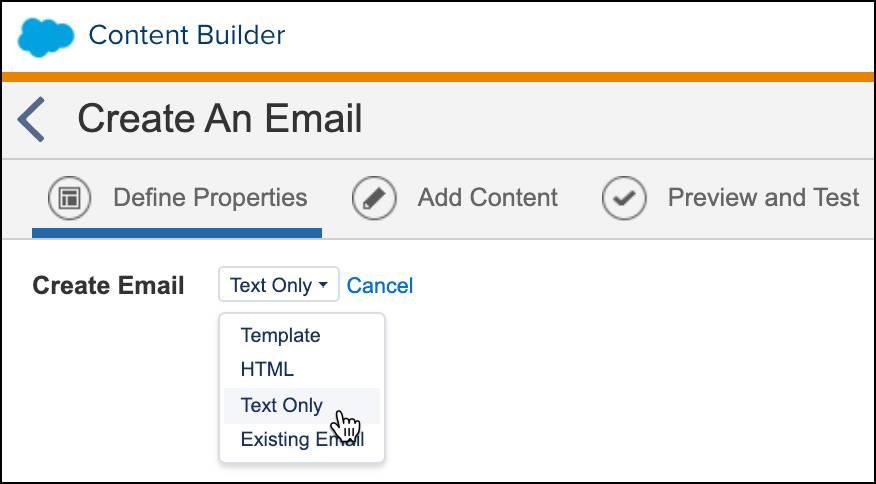 Sur l'écran Créer un e-mail, l'option Texte uniquement est sélectionnée dans la liste déroulante.