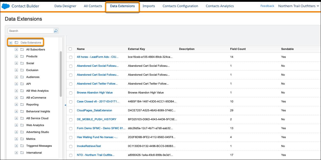 La page Extensions de données dans ContactBuilder.