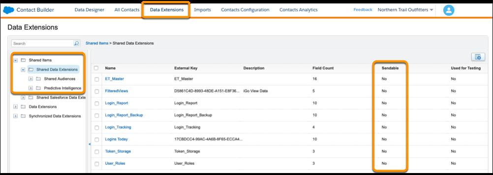 Contact Builder の共有データエクステンションのリスト。