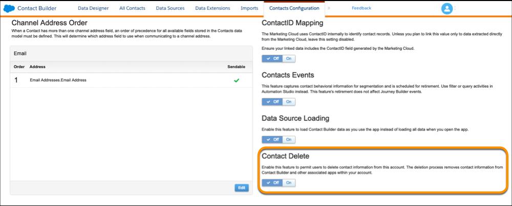 La page Ordre des adresses de canaux avec l'option Suppression de contact mise en évidence.