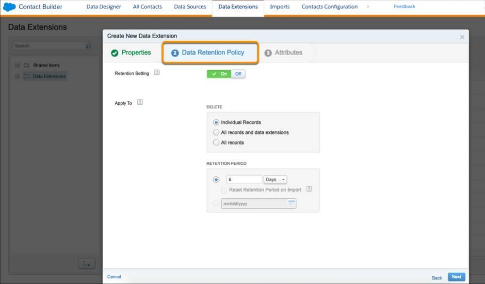 [新しいデータエクステンションの作成] プロセスの [データ保持ポリシー] ステップ。