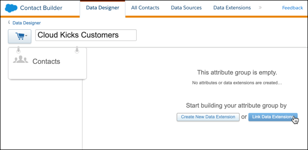 Cloud Kicks Customers attribute group with cursor on Link Data Extensions