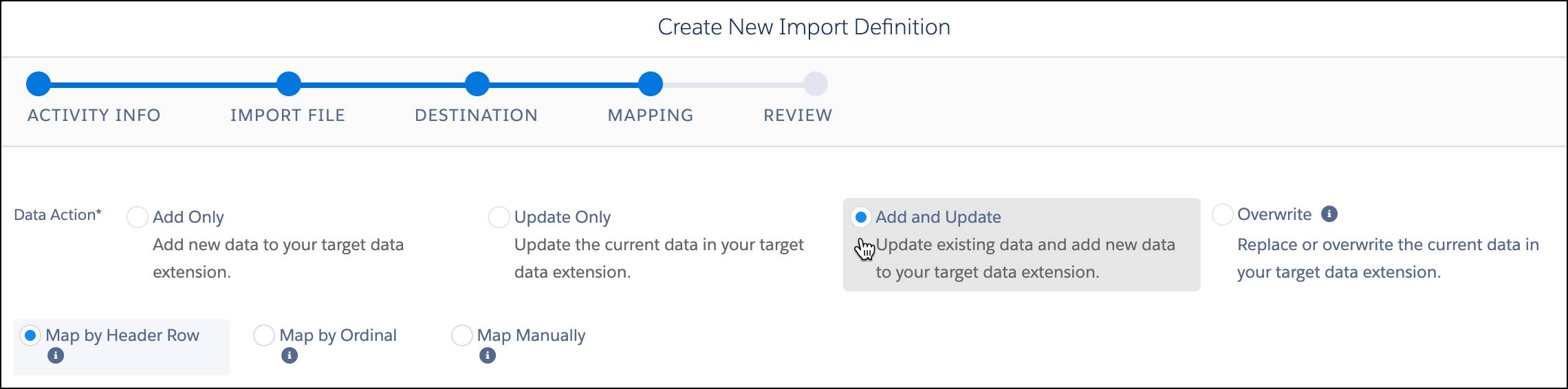 Add and Update and Map by Header Row selected in import definition.