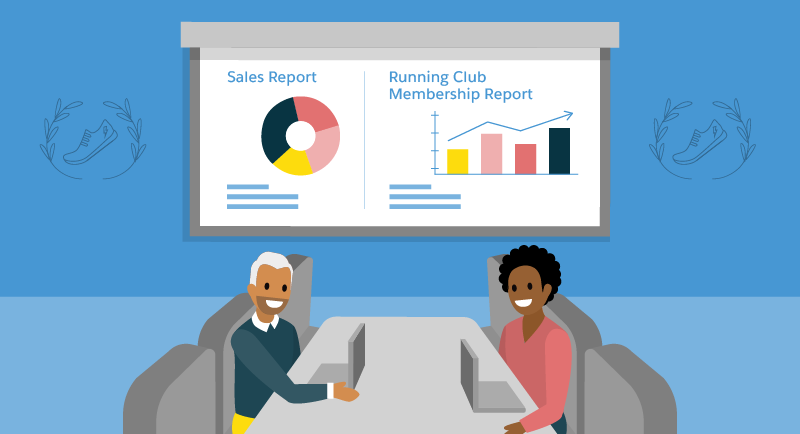 Business leaders review sales and running club membership reports.