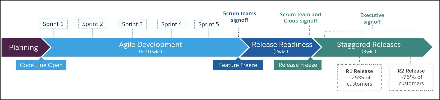 Lifecycle phases of a major release cycle.