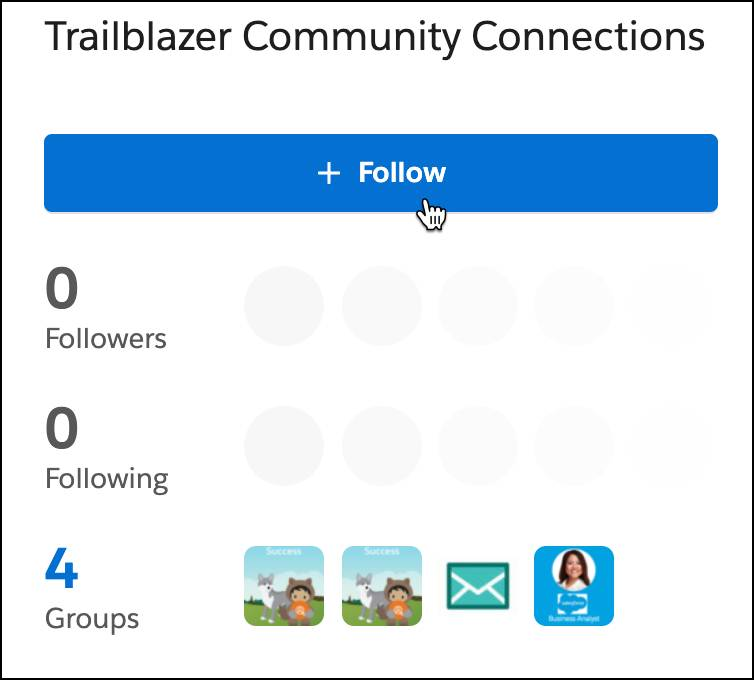 Cursor hovering over the +Follow button to add a Trailblazer as a connection.