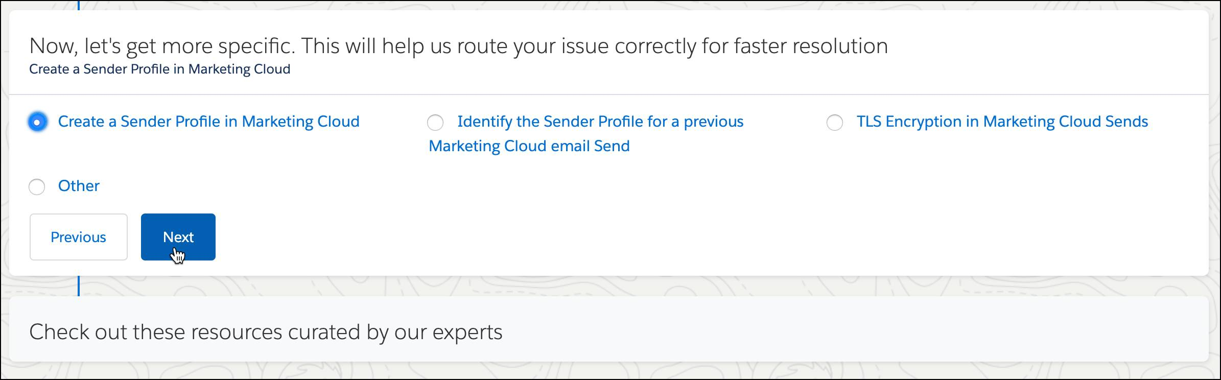 Specific topic screen with the Create a Sender Profile in Marketing Cloud radio button selected.
