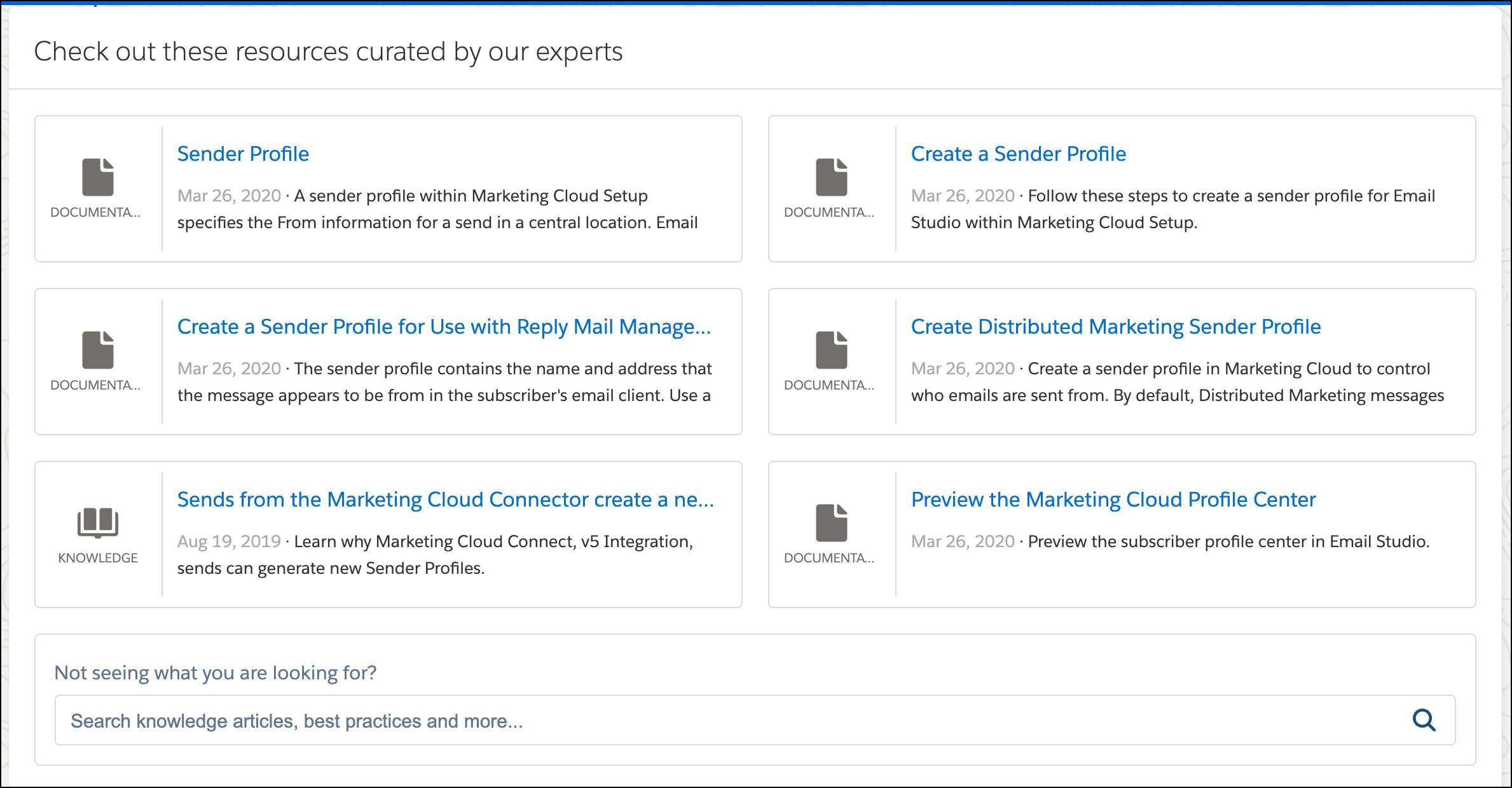Suggested resources related to a sender profile issue.