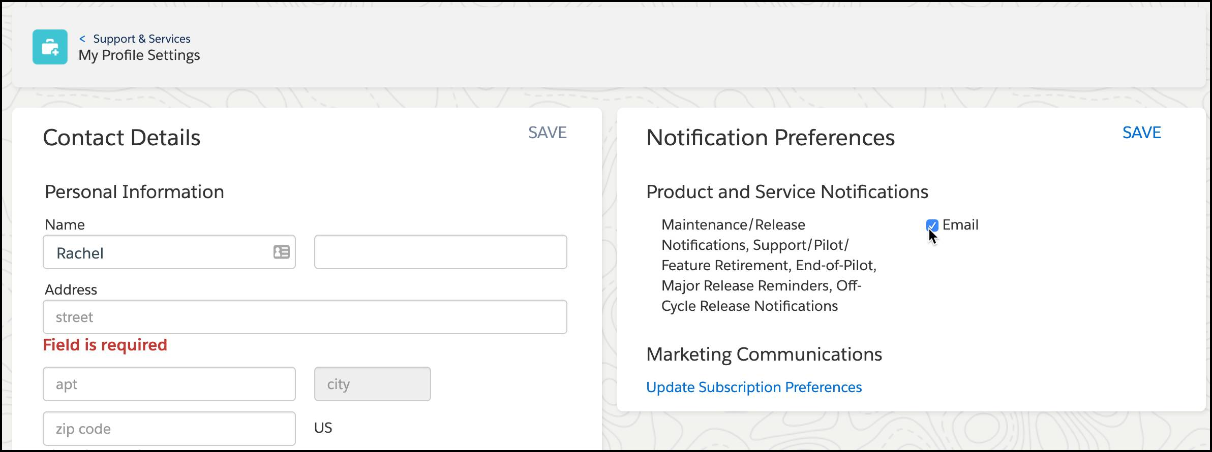 Support contact details and notification preferences page.