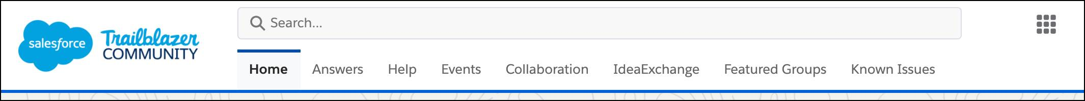 Trailblazer community home page navigation, including Answers, Help, Events, Collaboration, IdeaExchange, Featured Groups, and Known Issues.