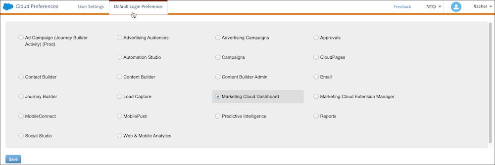 Cloud Preferences, Default Login Preference tab with Marketing Cloud Dashboard selected.